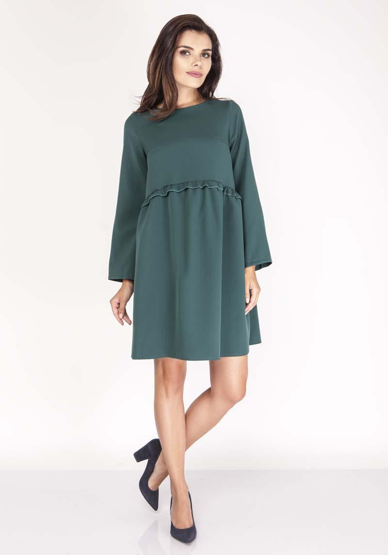 Green Flared Dress with Litlle Waist Frill