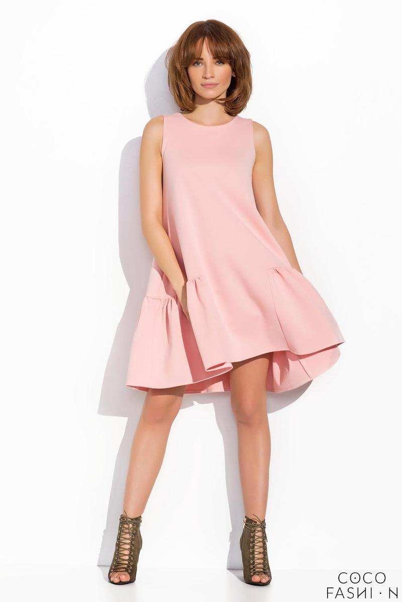 pink-sleeveless-drop-waist-swing-dress