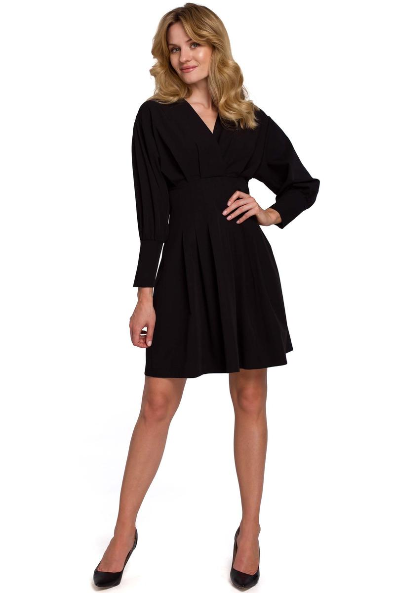 Black Wrap Front Long Sleeves Dress