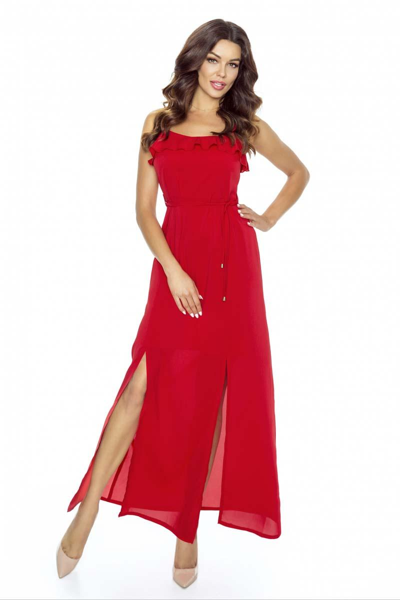 Red Maxi Long Evening Spaghetti Straps Dress