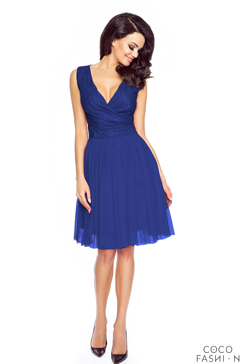 Blue Evening Party Dress with Tulle