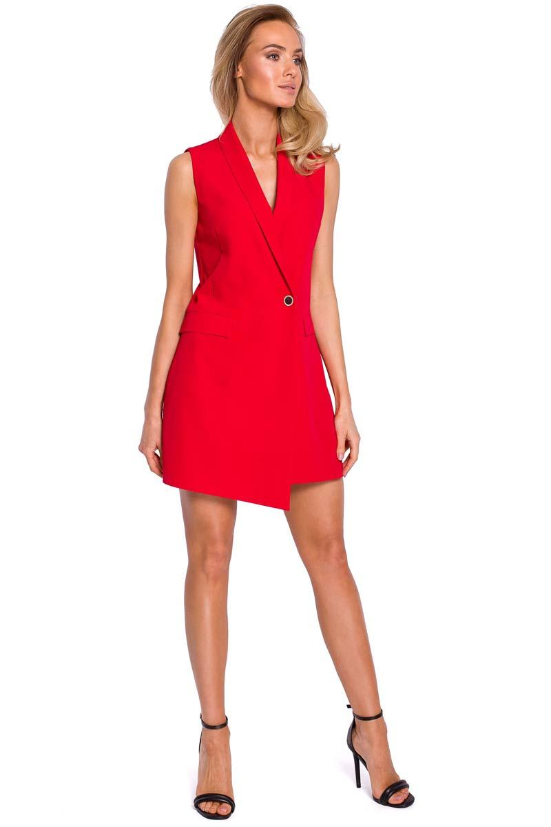 Red Elegant Sleeveless Jacket Dress