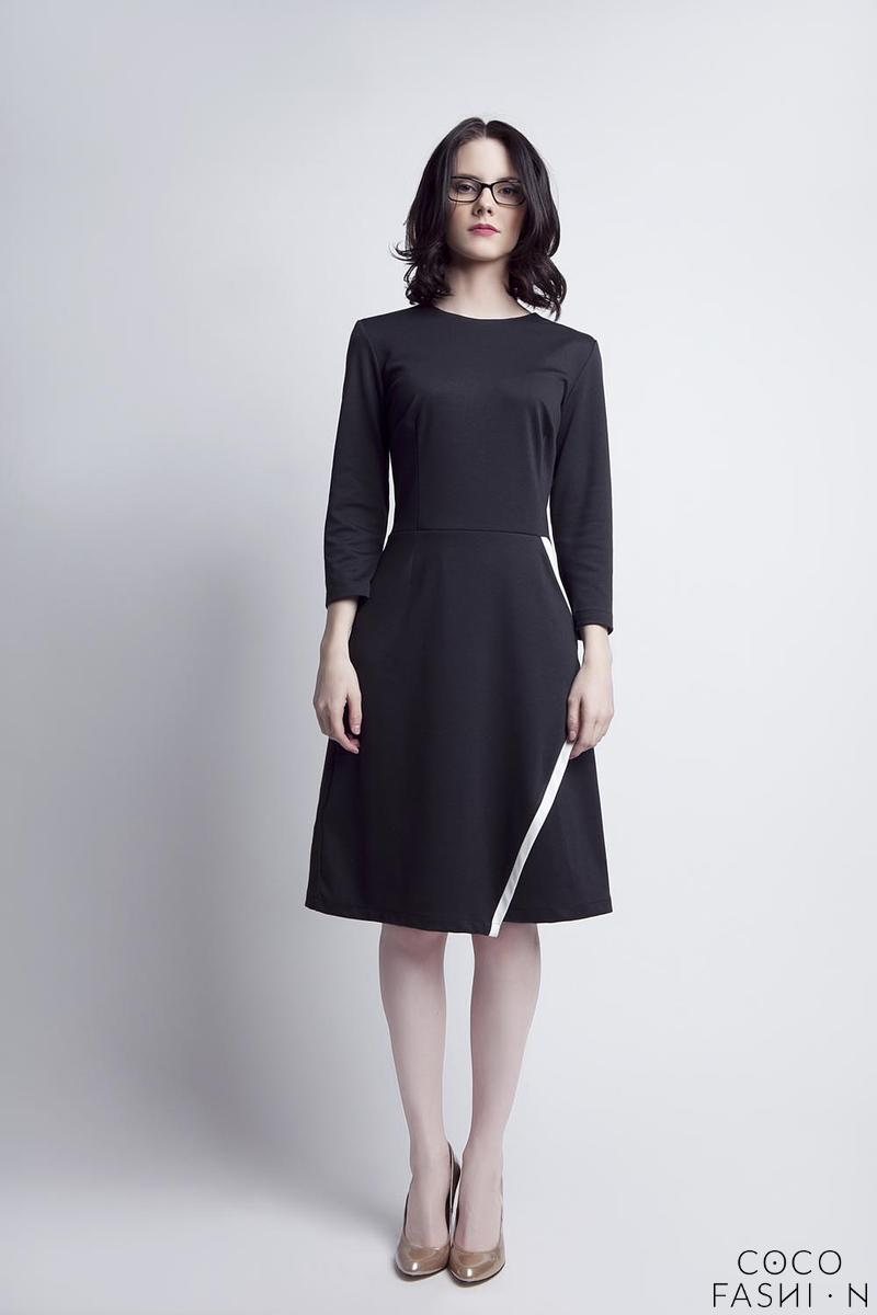 black classic office style knee lenght dress
