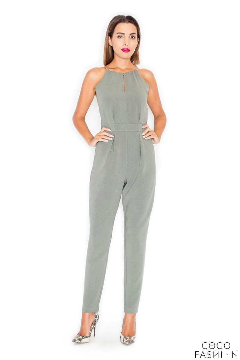 Green Elegant Chain Halterneck Long Legs Jumpsuit