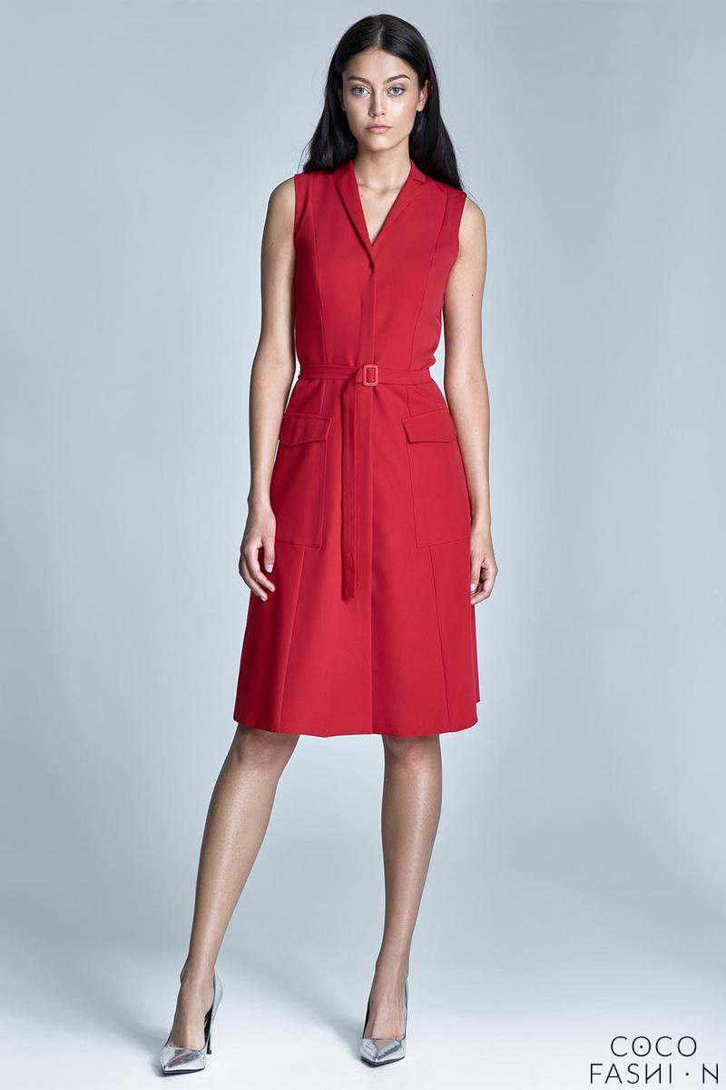 red-sleeveless-flared-shirt-dress