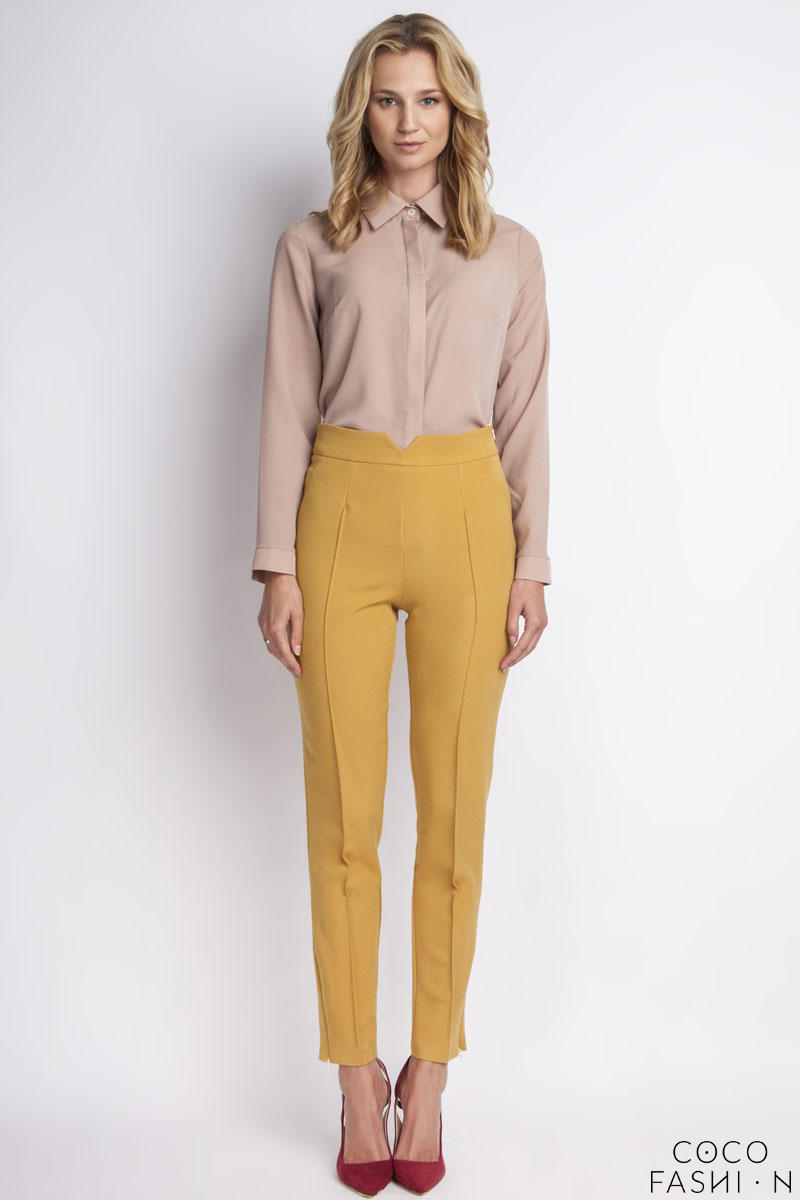 Mustard Hight Waist Elegant Pants