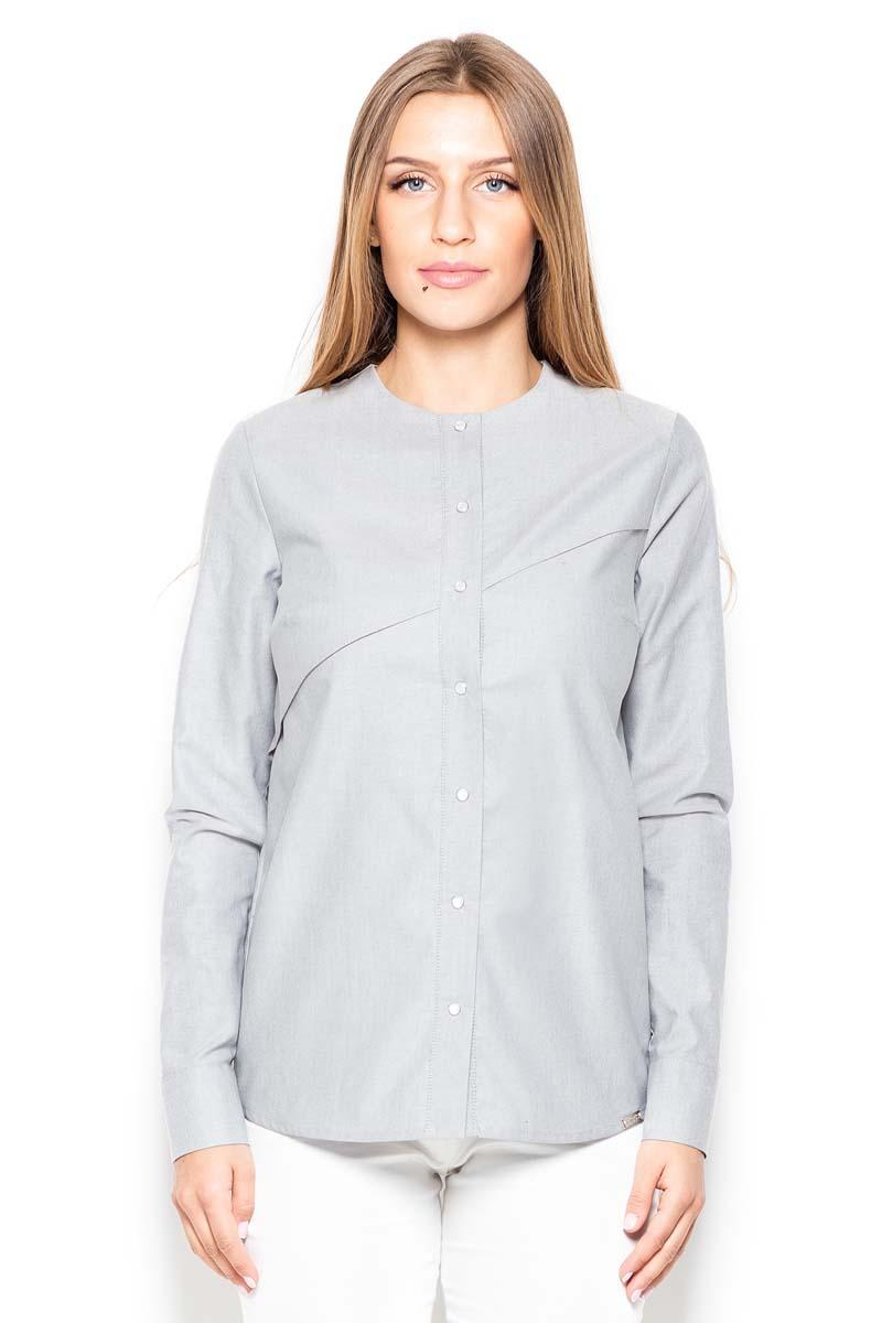 Grey Round Neckline Ladies Shirt