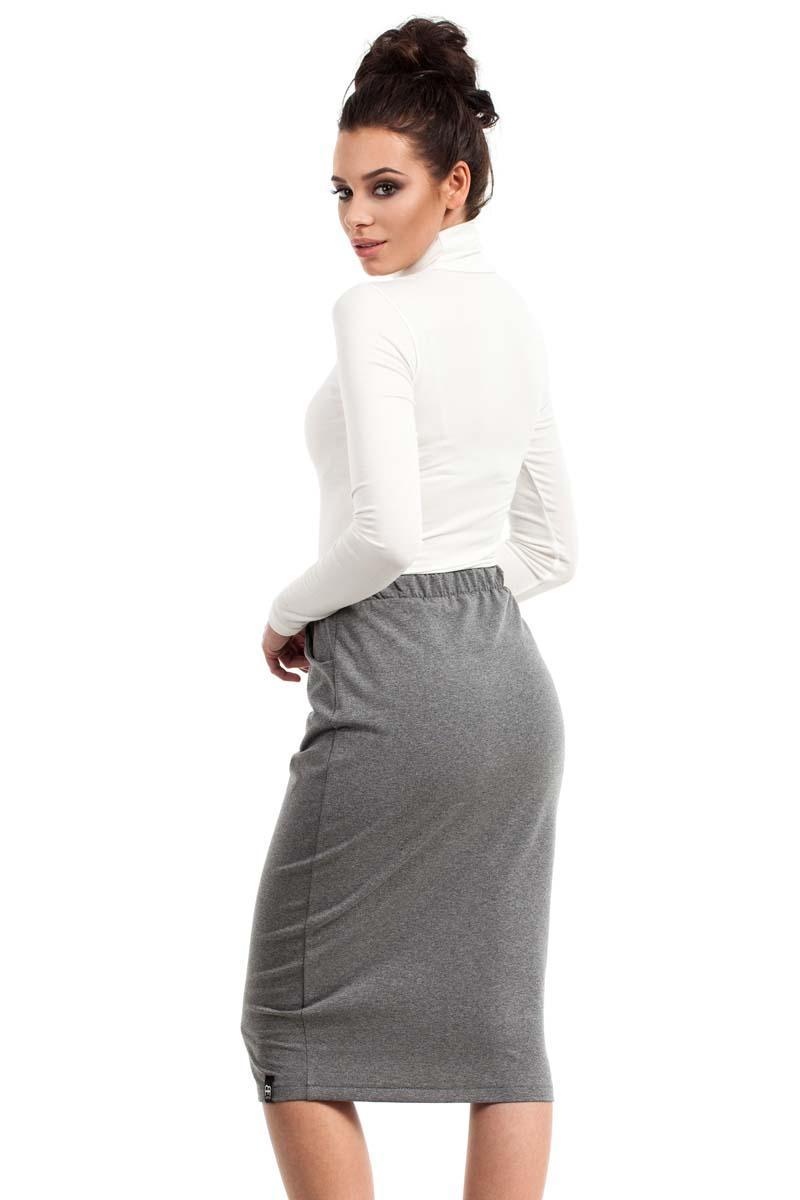 grey bodycon fit midi skirt