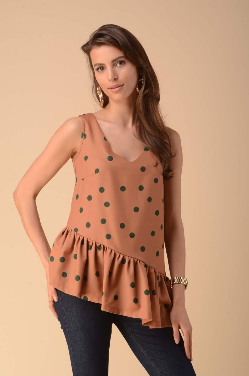 Asymmetric Top Blouse with a Frill - Camel