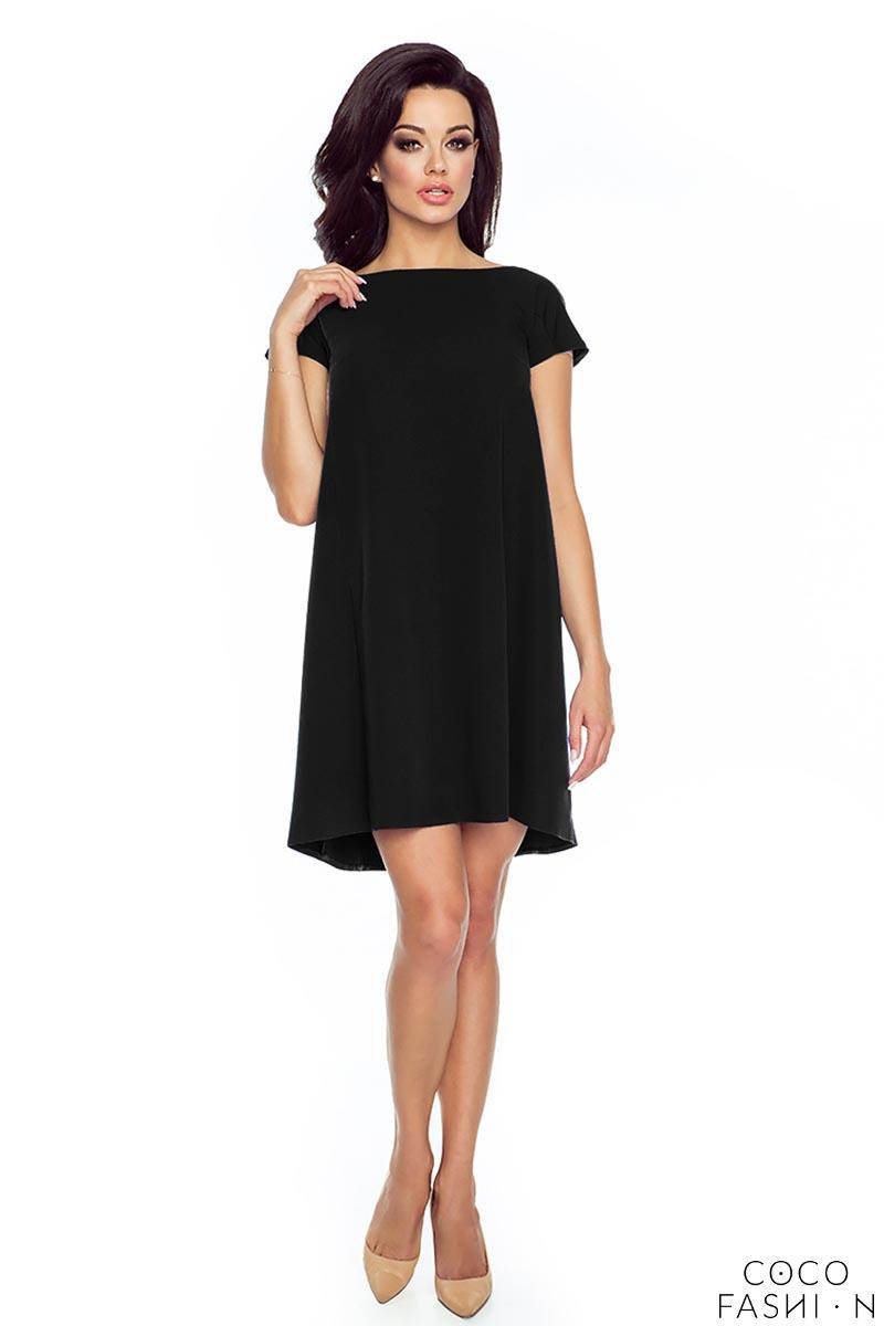 Black Flared Dress with Bow at The Back