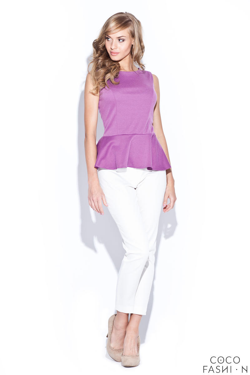 Pink Sleeveless Top with Frilled Hemline от cocofashion