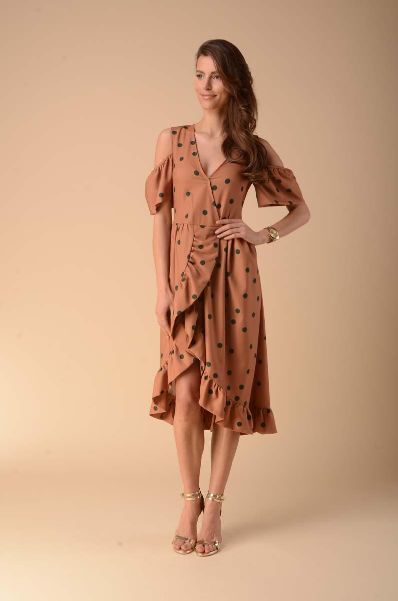Envelope Dress with Cut-Out Shoulders - Camel