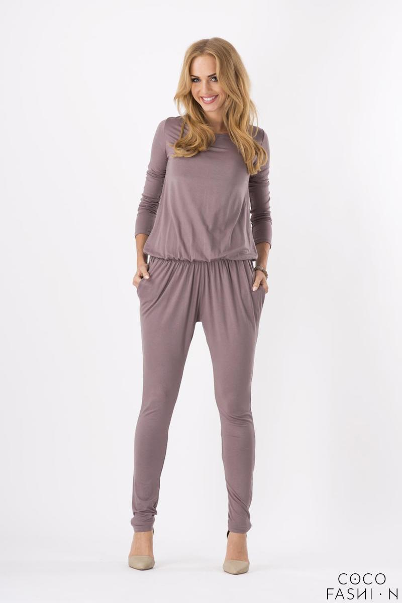 Cappuccino Comfortable Wrinkled Long Sleeves Jumpsuit