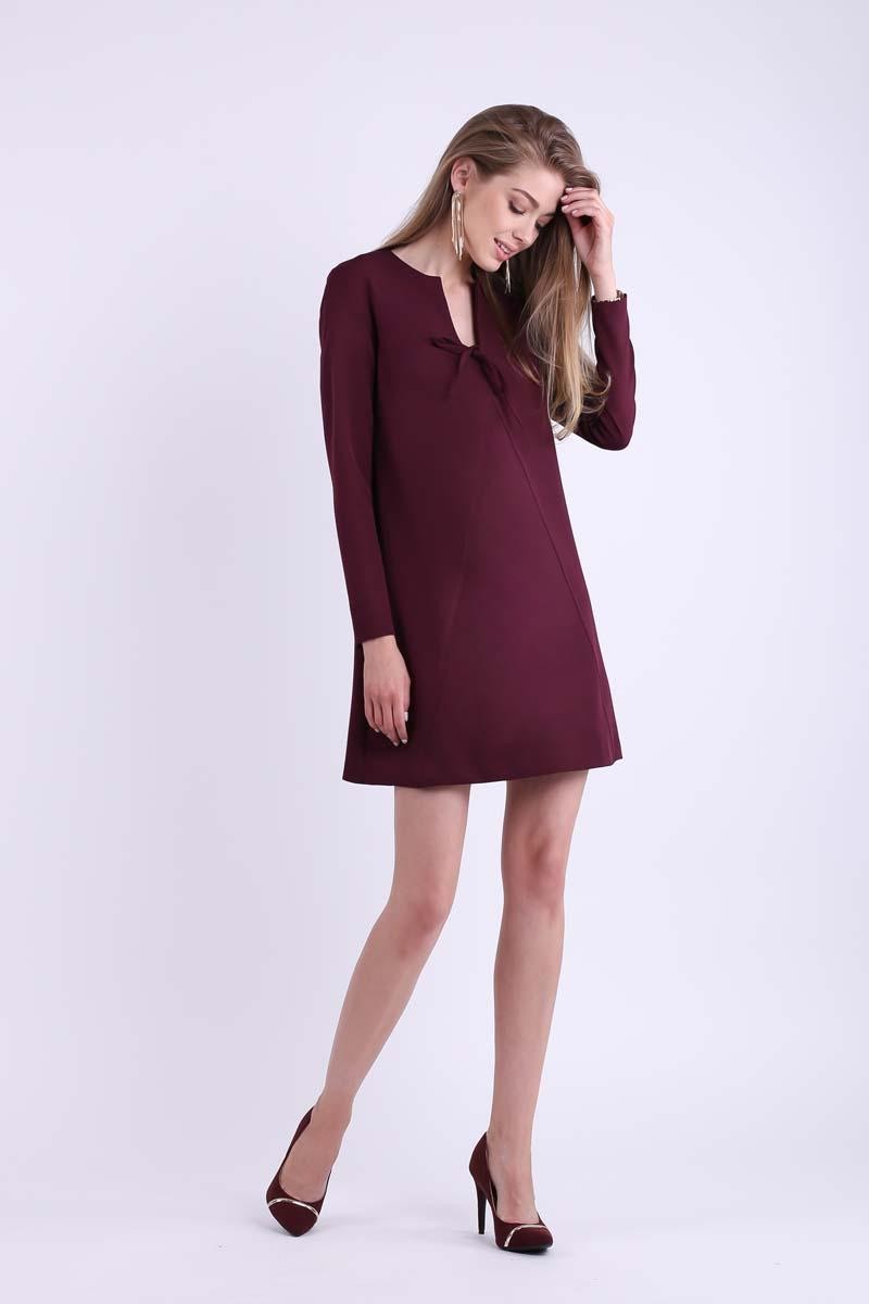 Burgundy Trapezoidal Short dress with bow on the neckline