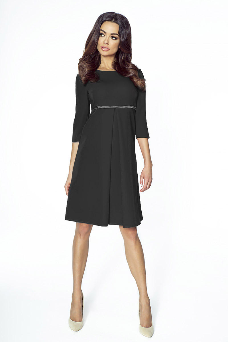 Black Flared 3/4 Sleeves Coctail Dress