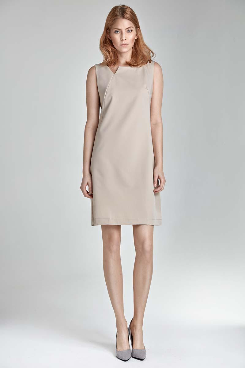 Beige Simple Sleeveless Dress