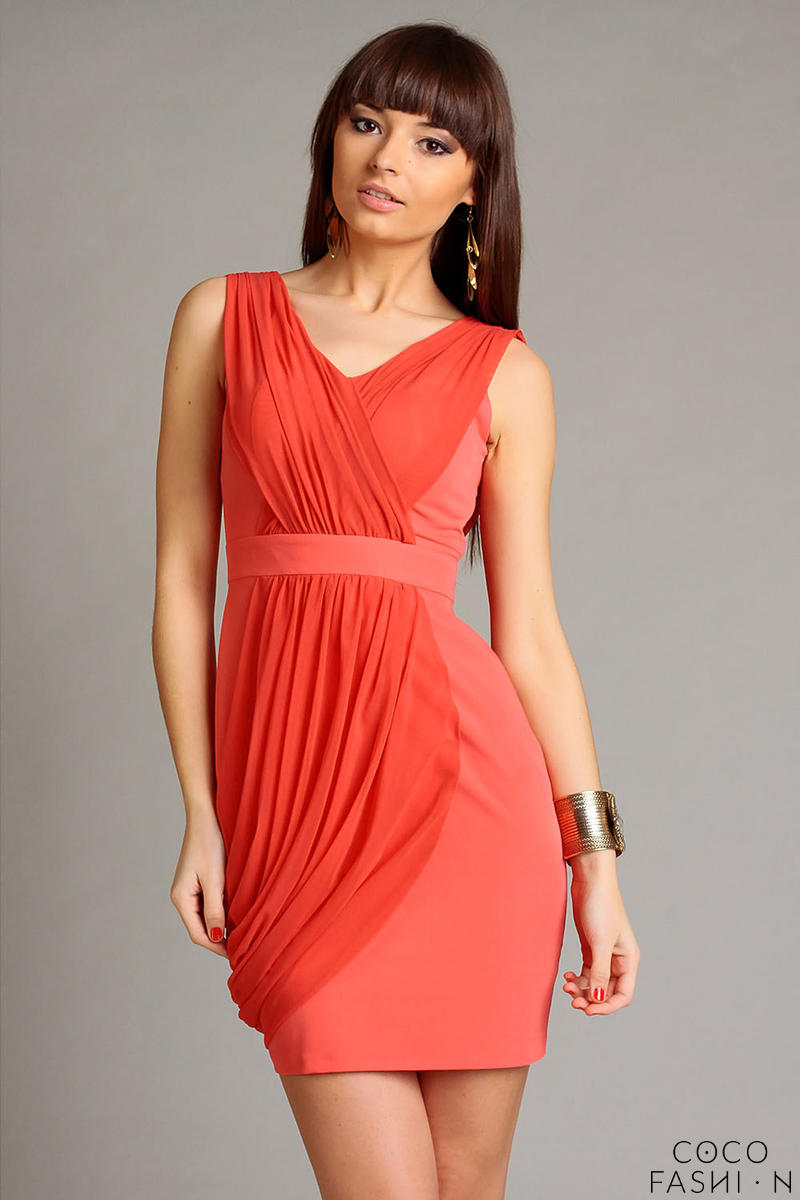 Coral Red Elegant Draped V-Neckline Mini Dress