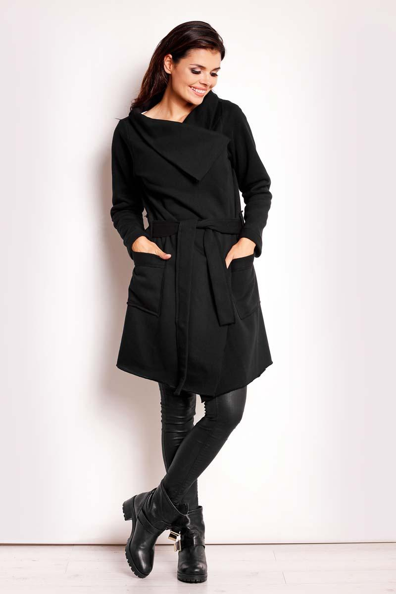 Black Loose Lapels Belted Coat