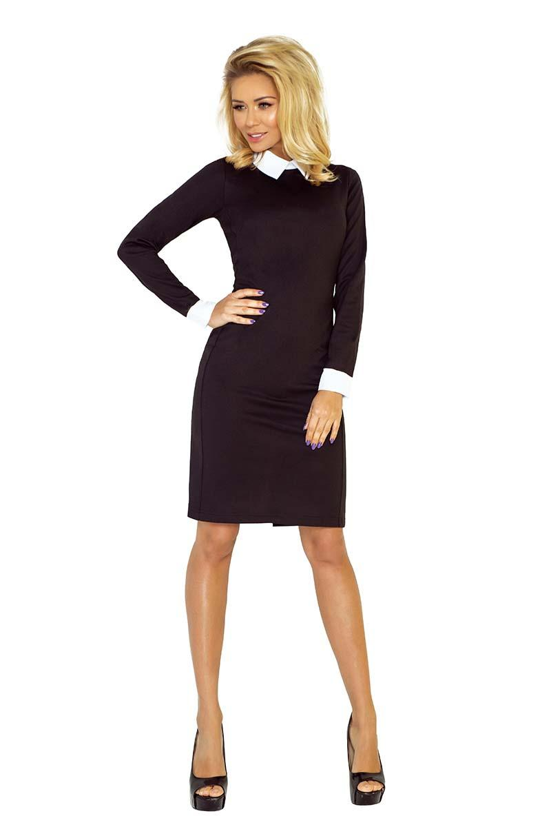Black Bodycon Dress with White Cuffs&Collar