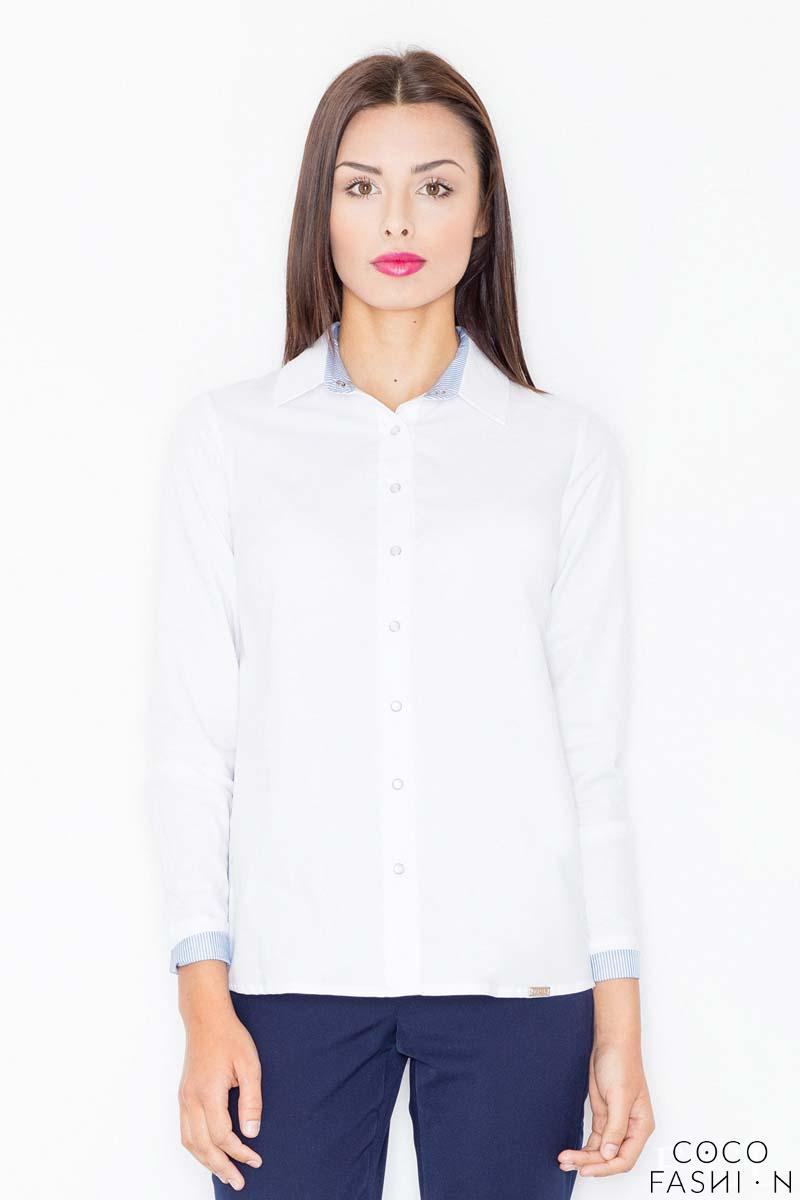 White&Blue Classic Collar Long Sleeves Shirt
