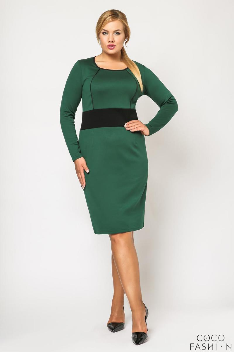 Green Long Sleeves Contrasting Waist Dress PLUS SIZE