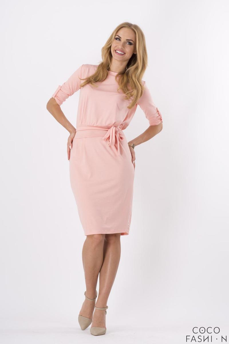 Pink Casual Self Tie Belt and Rolled-up Sleeves Dress