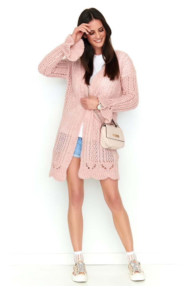 Pink Openwork Cardigan Sweater