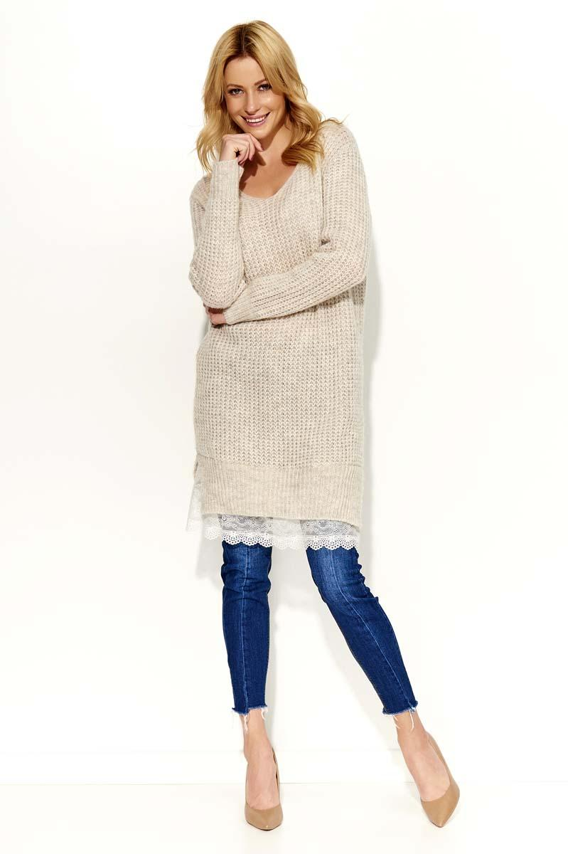 Beige Long Sweater with Lace