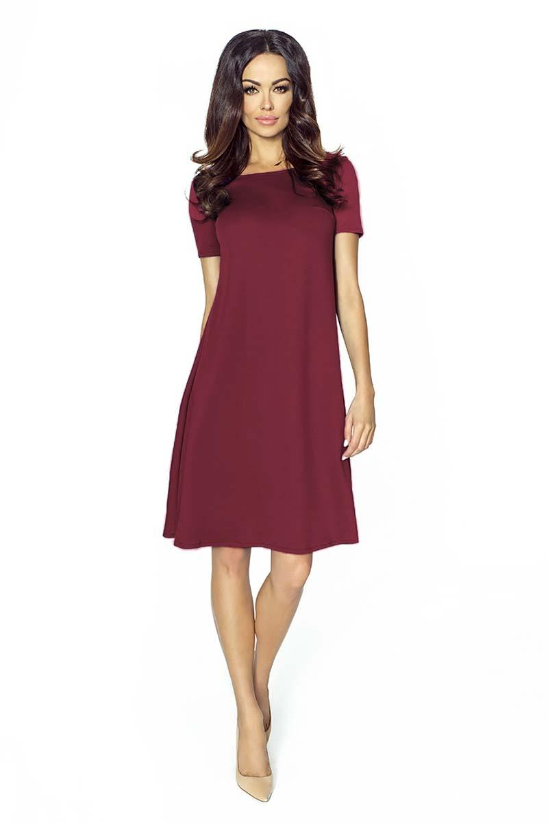Maroon Flared Short Sleeves Dress