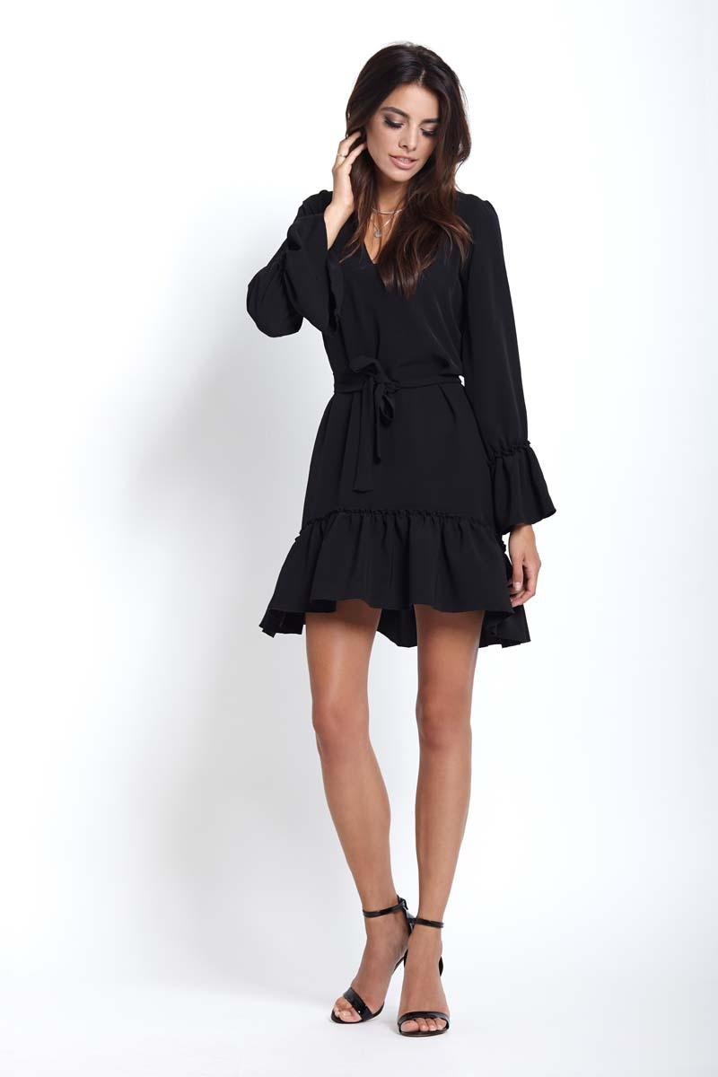 Black Women Airy Dress With Frills