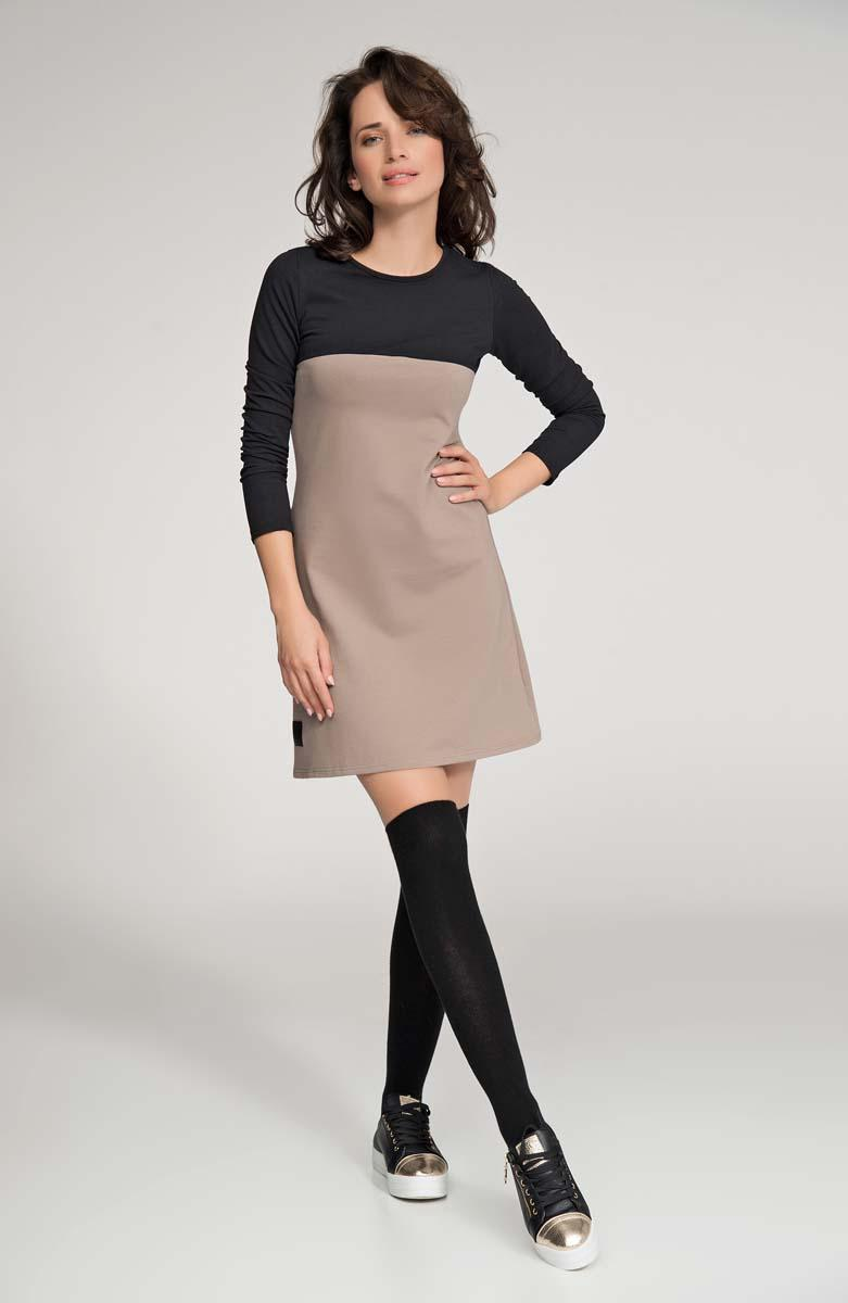 Cappuccino&Black Long Sleeved Flared Mini Dress