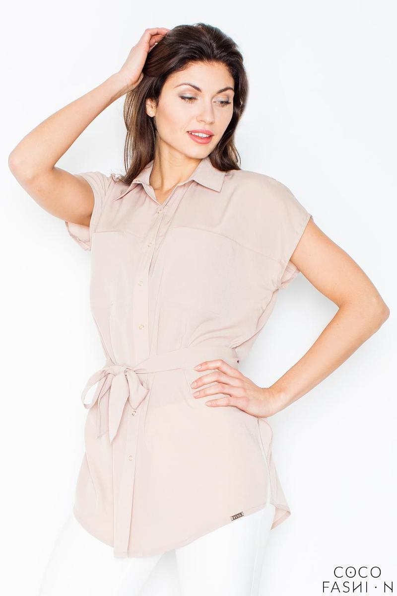 Beige Short Sleeves Short with Self Tie Belt
