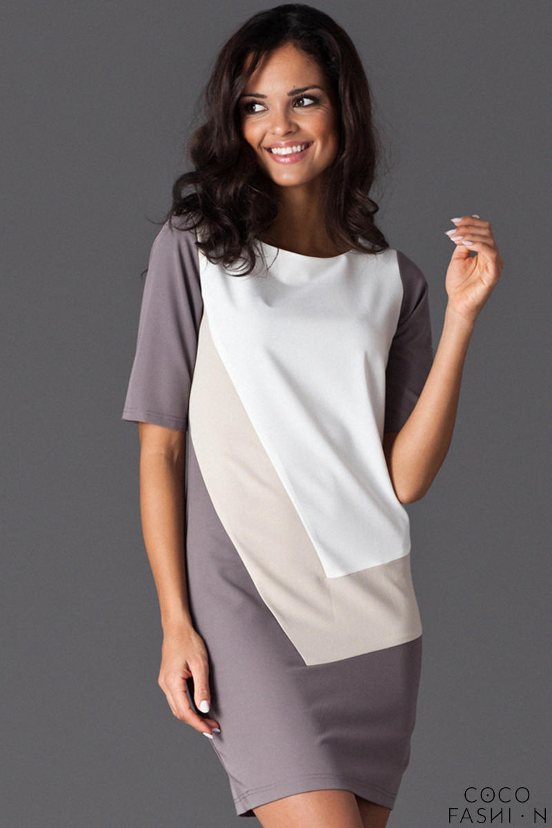 Beige Asymmetrical Color Block Shirt Dress