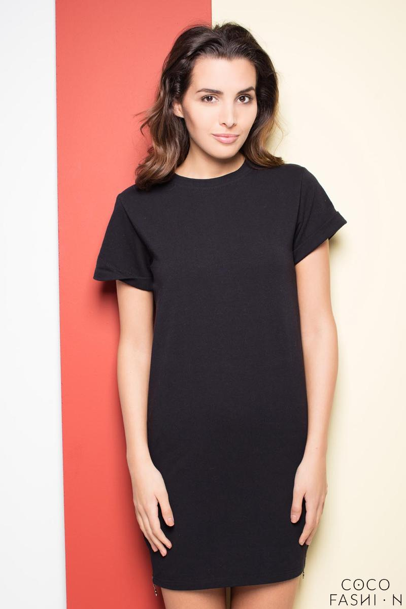 Black Casual Mini Dress with Side Zip