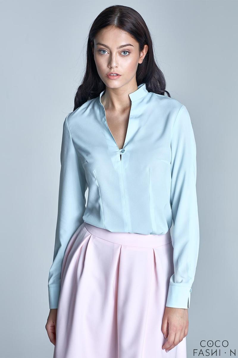 Light Blue Long Sleeved Stand-up Collar Shirt