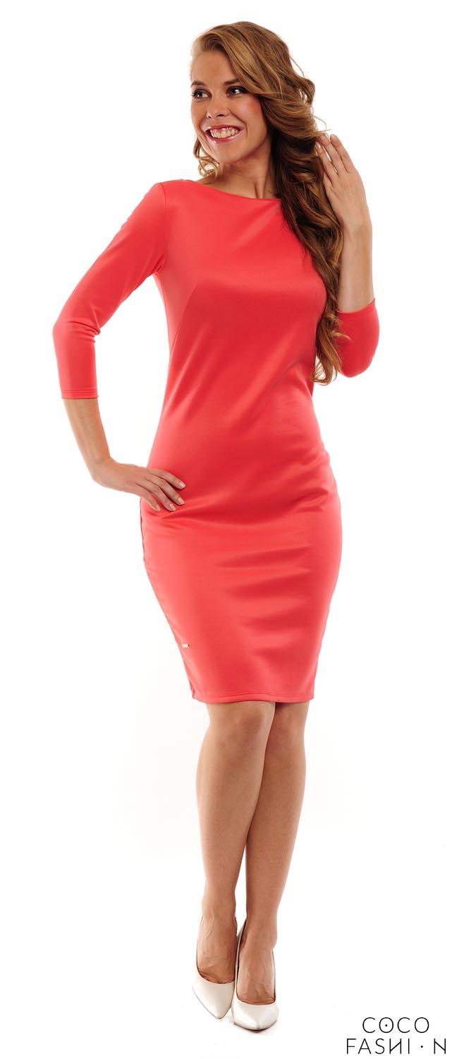 Coral Classic Plain 3/4 Sleeves Dress