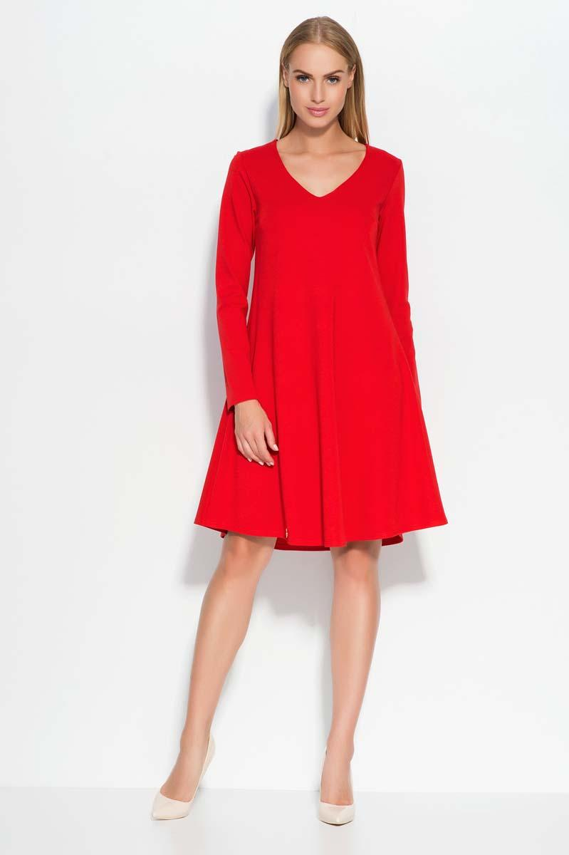 Red V-Neckline Flared Casual Dress