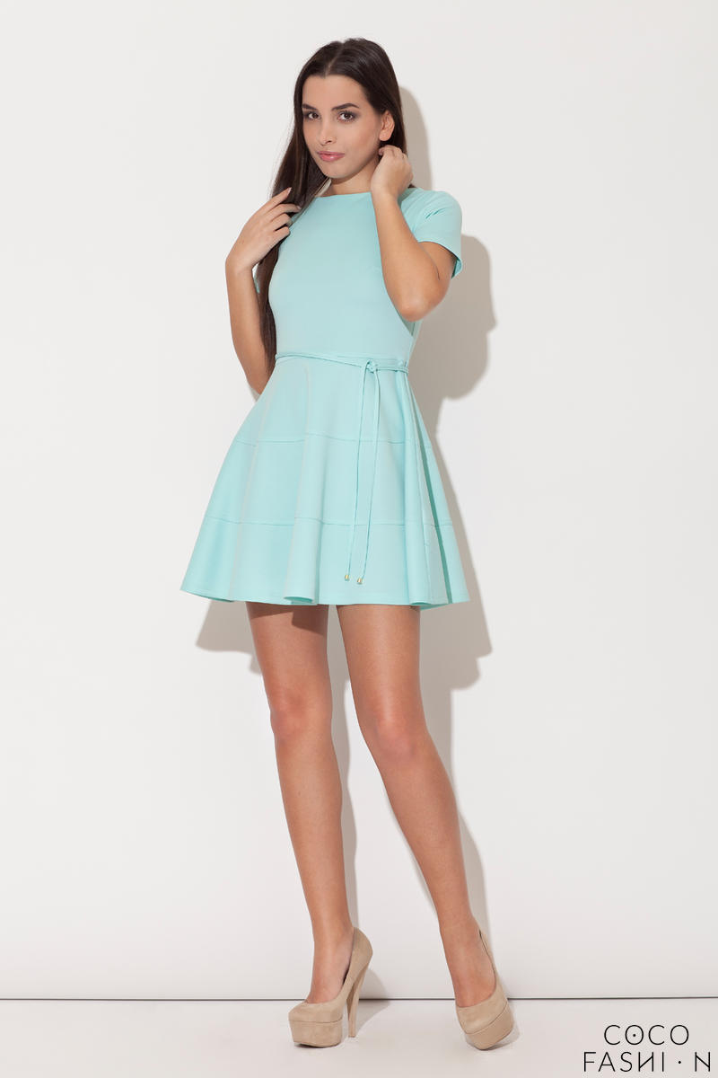 Azure Cap Sleeves Bateau Neck Seam Dress