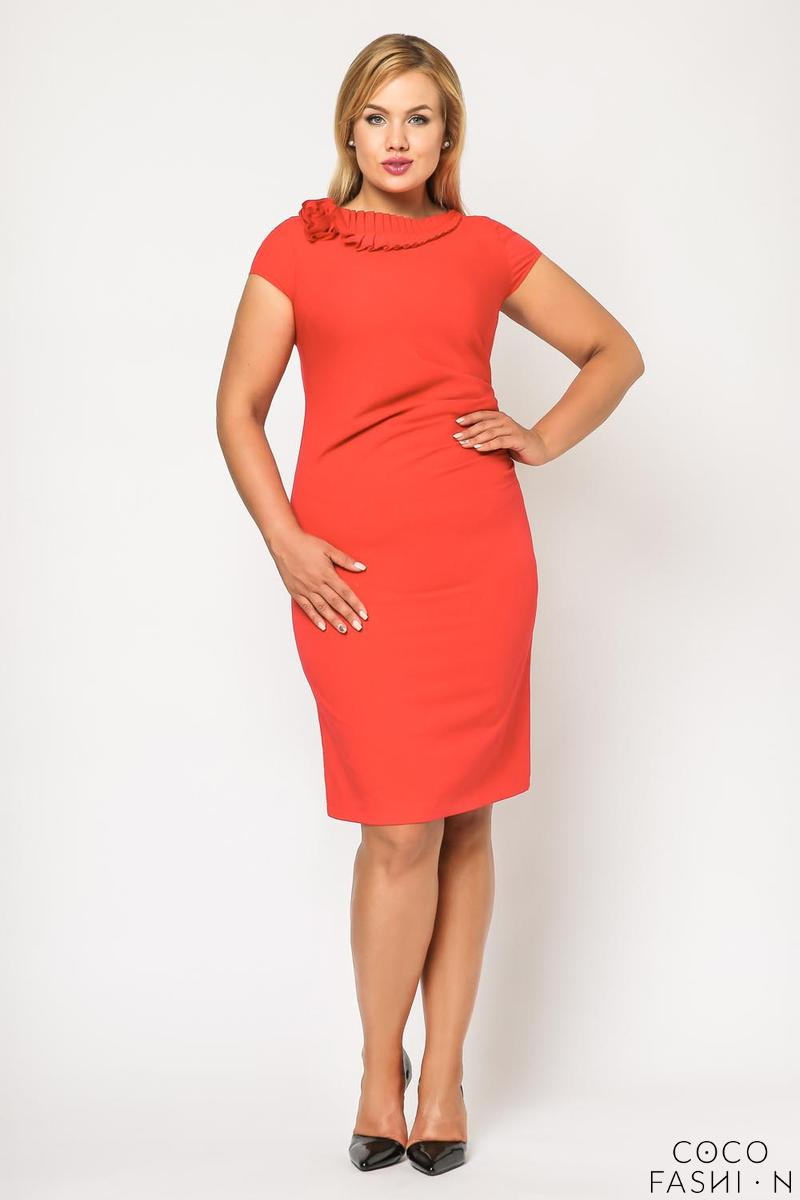 Coral Red Elegant Evening Dress PLUS SIZE