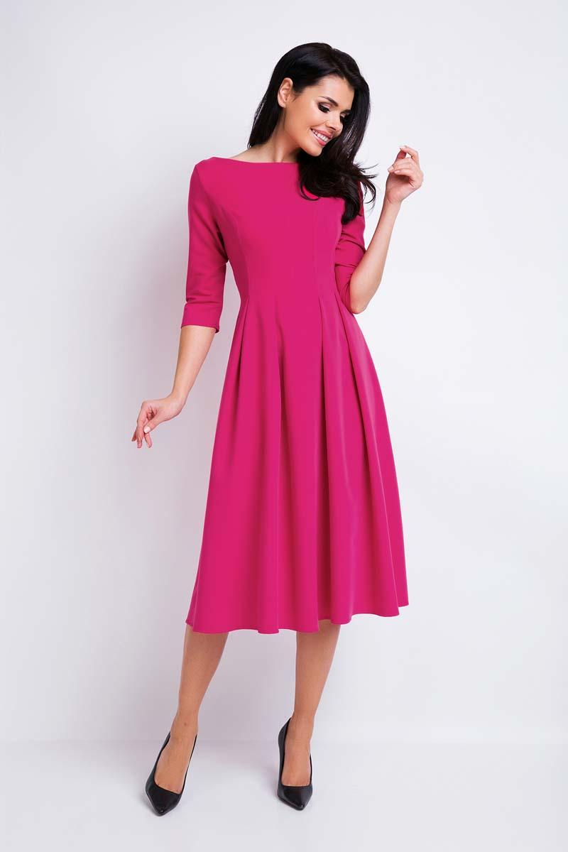 Pink Midi Formal Dress with Wide Bottom