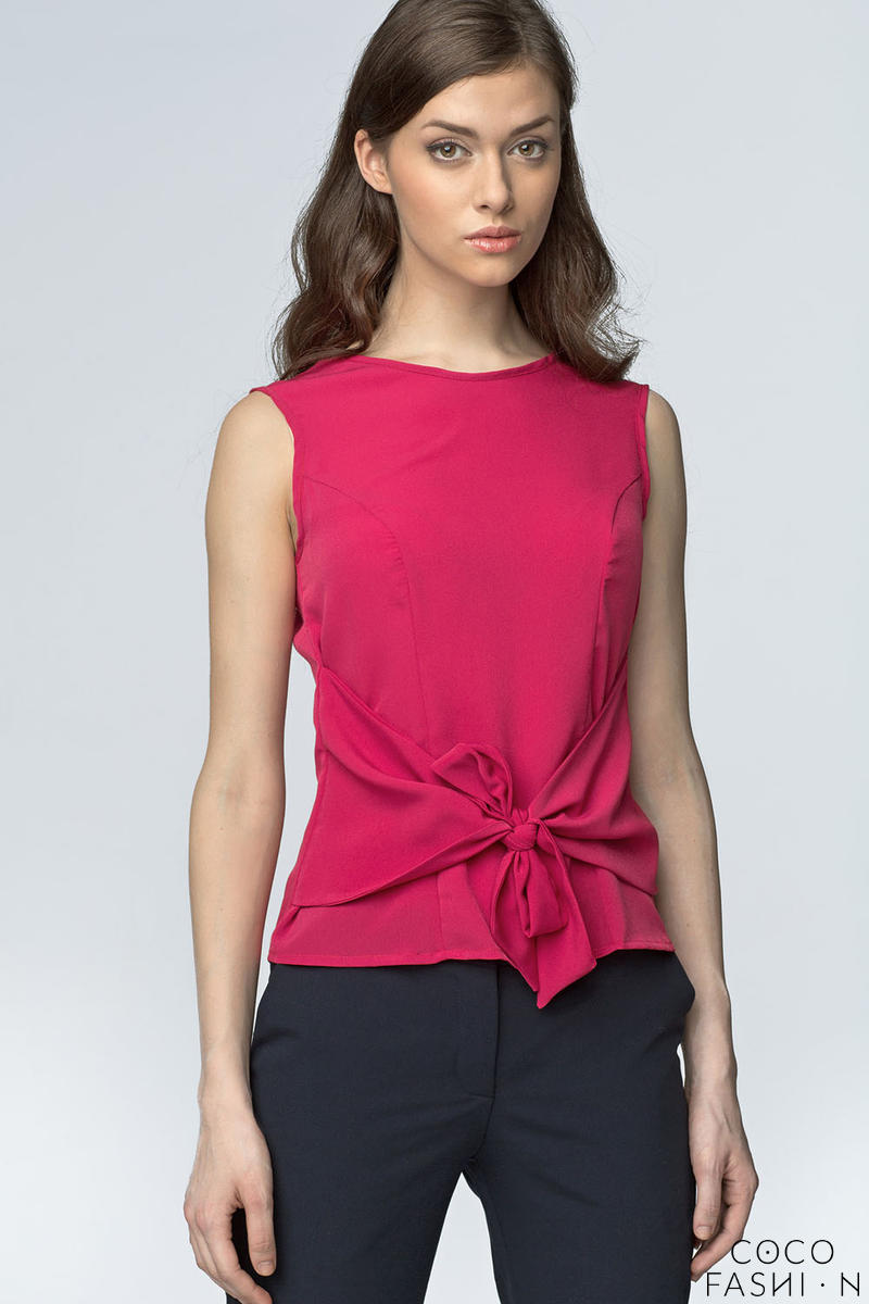 fuchsia-glasses-printed-blouse-with-bow-tie-waist