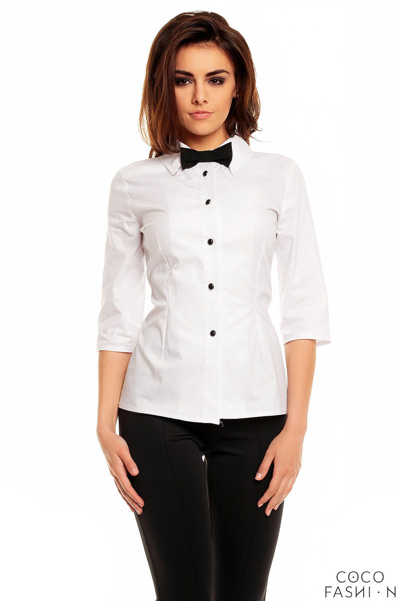 White Elegant Shirt with Contrast Bow Tie