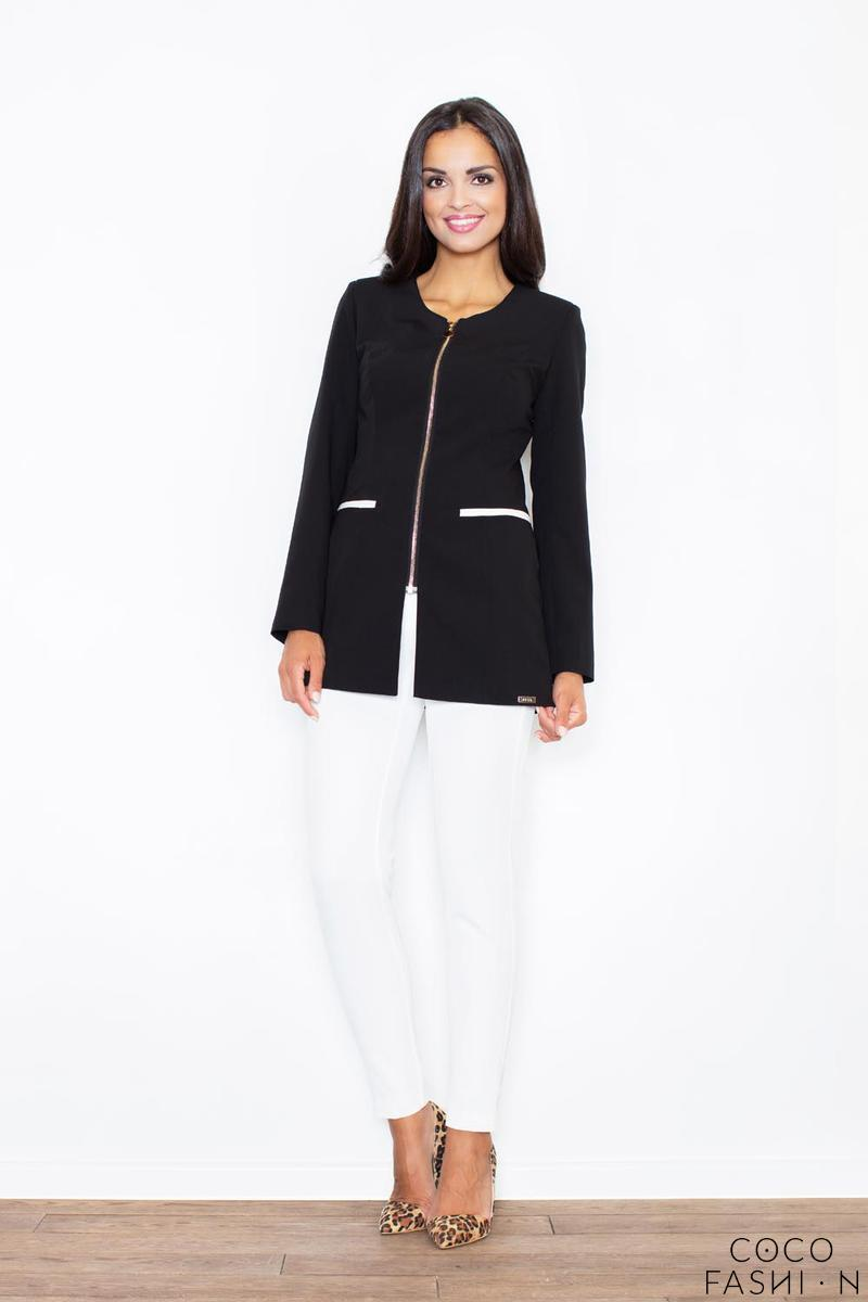 Black Golden Zipper Stylish Long Blazer