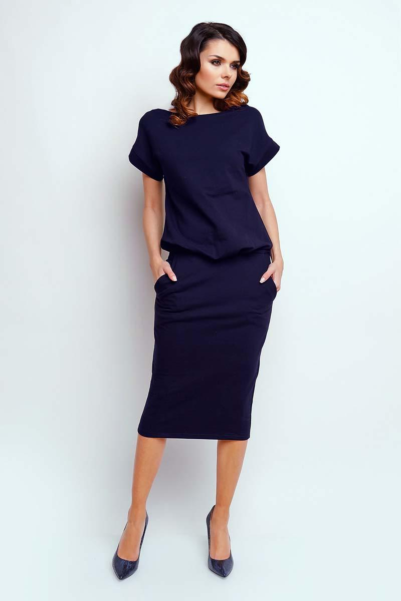 Navy Modern Midi Dress with Short Sleeve