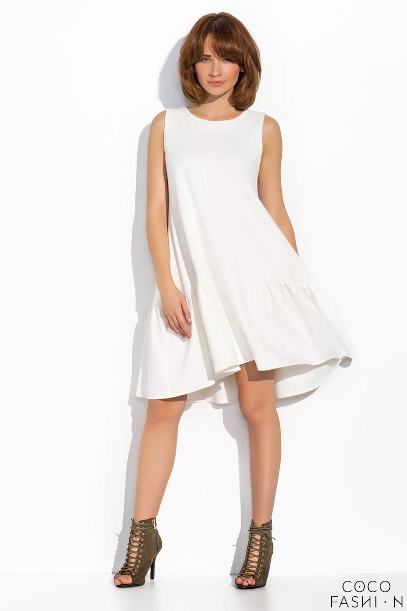 Ecru Sleeveless Drop Waist  Swing Dress