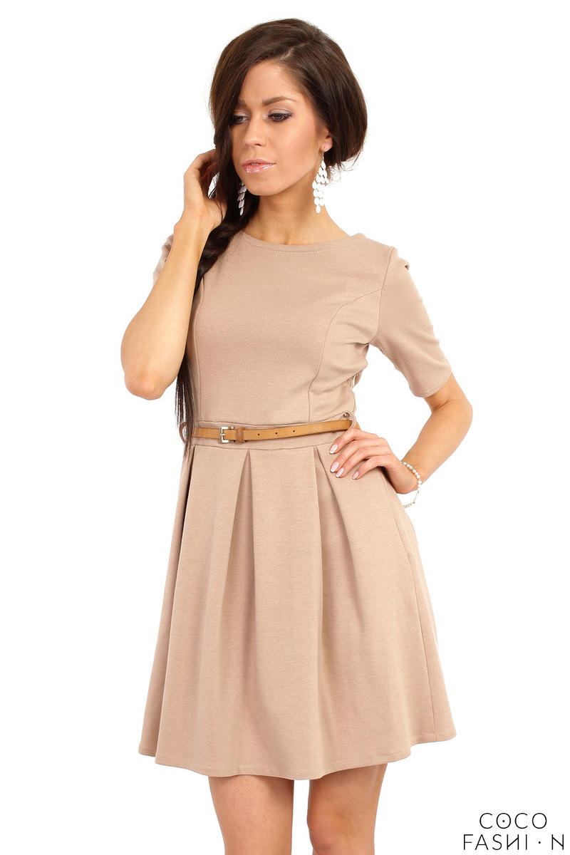 coffee-magnanimous-modern-belted-tea-length-dress