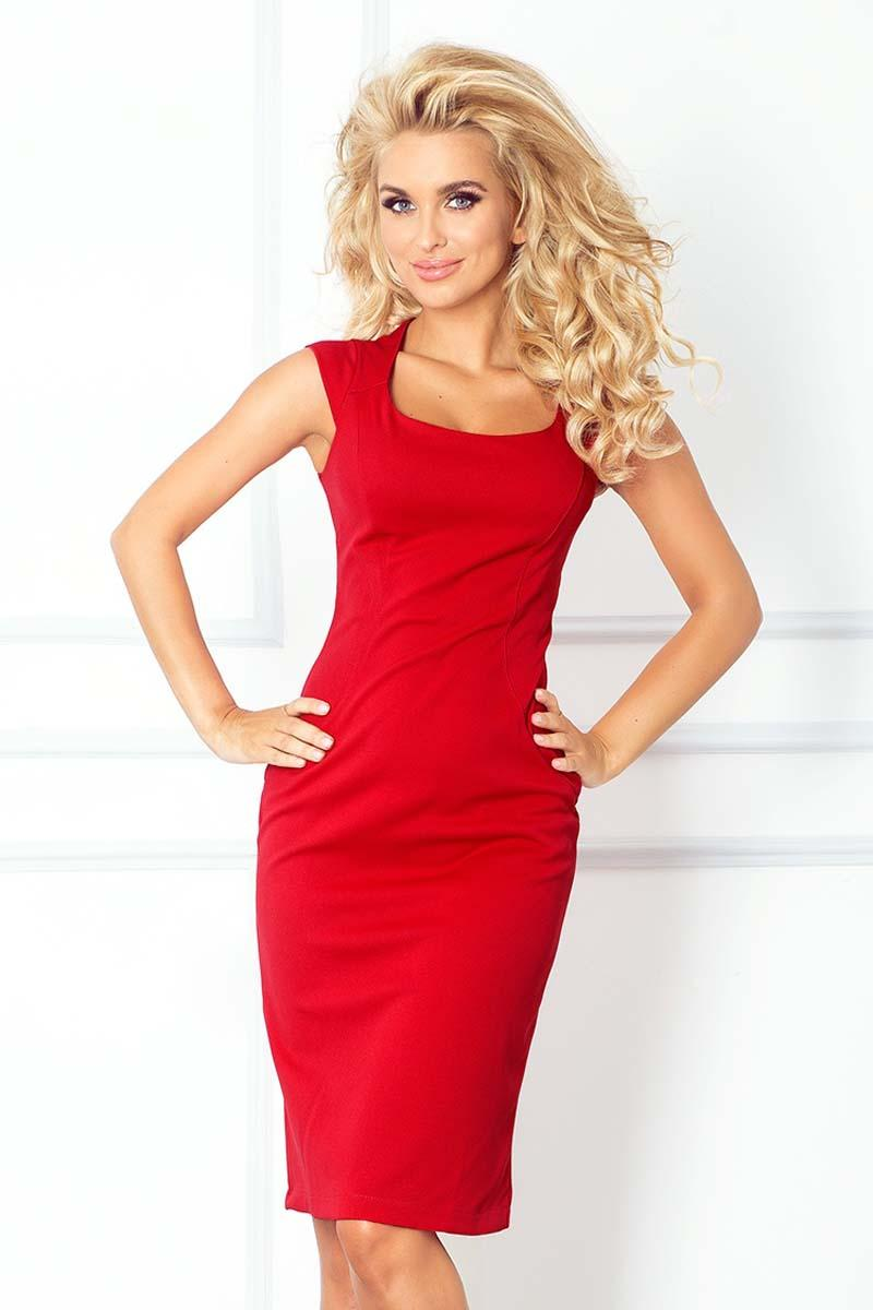 Red Bodycon Knee Length Dress