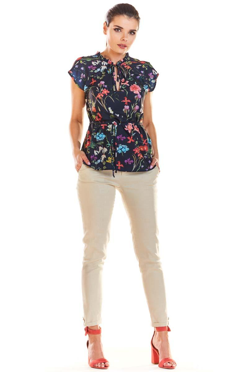 Navy Blue Stylish Blouse with a Floral Print