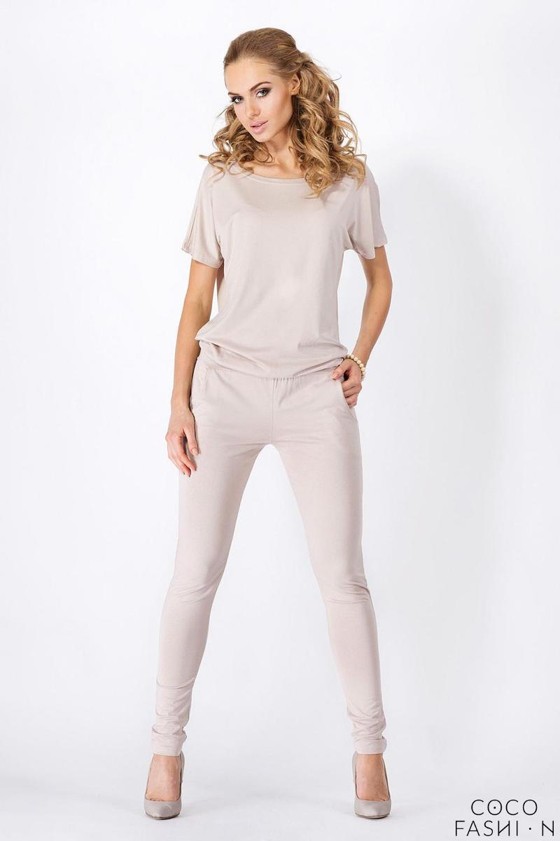 Beige Loose Top and Slim Pants Ladies Jumpsuit