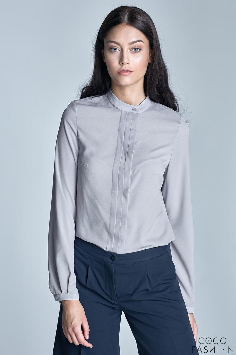 Grey Long Sleeves Stand-up Collar Blouse